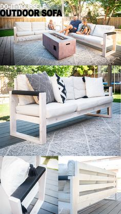 Backyard Landscaping Discover DIY IKEA Outdoor Sofa In this tutorial I will show you how to build beautiful modern patio furniture like this Outdoor Sofa using and Ikea cushions. Pallet Garden Furniture, Outdoor Furniture Plans, Outside Furniture, Diy Furniture Plans Wood Projects, Deco Furniture, Industrial Furniture, Furniture Storage, Handmade Outdoor Furniture, Diy Outdoor Wood Projects