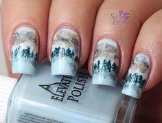 Forest landscape nail art using Elevation Polish