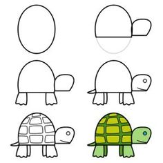 your time and you'll be able to learn how to draw this cute cartoon turtle. :)Take your time and you'll be able to learn how to draw this cute cartoon turtle. Easy Drawings For Kids, Drawing For Kids, Art For Kids, Toddler Drawing, Simple Drawings, Drawing Lessons, Art Lessons, Directed Drawing, Step By Step Drawing