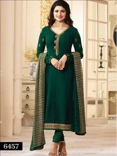A Dark Bottle Green Crepe fabric embroidered salwar suit that will enhance your indian wear wardrobe. It is teamed up with matching chudi bottom and Chiffon printed dupatta. Pakistani Formal Dresses, Indian Dresses, Indian Outfits, Indian Clothes, Desi Clothes, Lehenga Gown, Saree, Party Wear Dresses, Online Dress Shopping