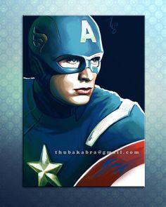 Captain America PRINT digital painting by DrawingIllustration, $18.73