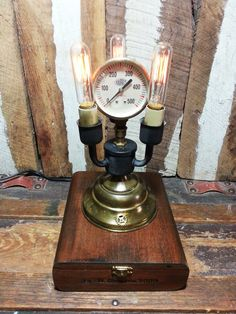 One-of-a-kind Upcycled Repurposed Vintage Cigar Box Steampunk Art Table/Desk Gauge Lamp w/3 Edison Style Filament Night Light Bulbs
