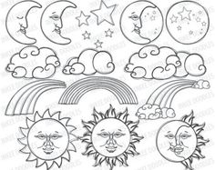 Sun Moon Stars Rainbow Clipart Cute Digital Stamps - Day Night Sun Moon Face Sketches Drawings Illustrations Instant Download 30008
