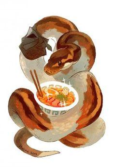 Jeniak draws Cute snake danger noodle eating a bowl full of tasty noodles Snake Drawing, Snake Art, Python Drawing, Cute Animal Drawings, Cute Drawings, Drawings Of Snakes, Art Mignon, Cute Reptiles, Cute Snake