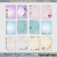 Pocket Project Cards 1 Digital Scrapbooking, Notebook, Pocket, Projects, Cards, Log Projects, Blue Prints, Map, The Notebook