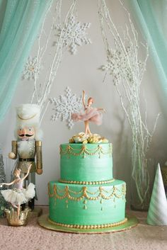 A Nutcracker-themed party is the perfect surprise for your little one with a winter birthday. With snowflake wands, lots glitter, and easy DIY decor crafts, you'll almost have more fun setting up the big event. Ballet Birthday Cakes, Fairy Birthday Cake, Ballet Cakes, Ballerina Cakes, Ballerina Birthday, Themed Birthday Cakes, 1st Birthday Parties, Birthday Ideas, Baby Birthday