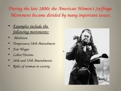 My students love this PowerPoint on the Women's Suffrage Movement. The following topics are covered:  Early Suffrage Movement in the United States Seneca Falls Suffrage Movement in England Alice Paul Protests and Imprisonment of Suffragettes Women and WWI Passage of 19th Amendment  The PowerPoint is 80 slides; it usually takes two class periods for my students to cover the information.