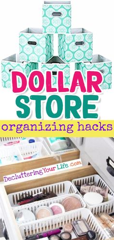 Dollar Store Organizing HACKS - organization ideas for the home on a budget - cheap and easy DIY dollar store organizing ideas with cheap cubes bins and baskets to get organized at home for CHEAP