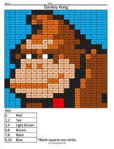 nintendo math coloring pixel puzzles