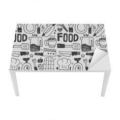 Naklejka na Biurko i Stół Kuchnia elementy ręcznie rysowane Doodles linia ikona, eps10