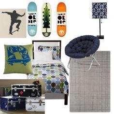 Big Bro Throw Pillows Green Skateboard Pillow – Land of Nod – $19.00    DwellStudio® for Target® Dot Fun Kids Comforter Set – Blue/Brown – Target – $49.99 for Twin    Room Essentials Stick Lamp w/Square Geometric Print Shade – Navy – Target – $14.44    Dorm Trunk – PB Teen – $199.99    Round Chair – PB Teen – $99.99    Crosshatch Rug – Land of Nod – $229    Skateboarder Vinyl Wall Decal – Etsy Seller: EmpireCityStudios – $18.95