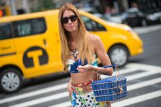Best Street Style Shoes and Bags from Fashion Week Spring 2015 - New York Fashion Week - Hande Can Yuce was going on a Fashion Week picnic, and we're glad she brought along this Savas Milano basket.