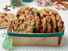 Holiday Monster Cookies recipe from Food Network Kitchen M&Ms, Oats, Pretzels, Peppermint, White Chocolate Chips