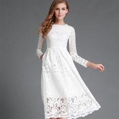 Fashion 2016 Autumn Dress Bohemian Hollow Out Long Women Lace Dress Femme Casual Clothing Women Sexy Slim Party Dress Vestido