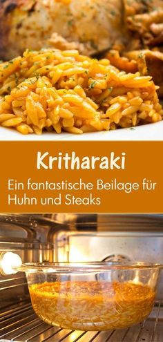 Kritharaki, a perfect side dish and Greek specialties .- a perfect # side dish and # Greek # specialty: a perfect side dish like Kritharaki goes well with many Mediterranean dishes. I like to combine them with steaks, chicken - Plats Healthy, Healthy Fats, Mediterranean Dishes, How To Make Salad, Evening Meals, Greek Recipes, Salad Recipes, Risotto, The Best
