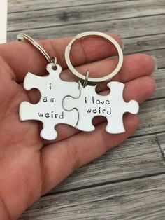 I am weird I love weird, Couples Keychains, Couples Gift Ideas, Puzzle piece keychains, Anniversary Gift, Hand Stamped, Boyfriend Gift