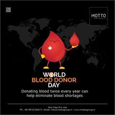 Donating blood twice every year can help eliminate blood shortages World Blood Donor Day..! #Motto #Tiles #mottogroup #Ceramic #FloorTiles #slabtiles #CeramicTiles #CeramicTile #SlabTile #Slab #Tile #Marbles #MarblePlus #WorldBloodDonorDay #BloodDonor #BloodDonation #WorldBloodDonorDay2020 #HumanityFirst #CovidWarriors #CovidYoddha #SavingLives #WBDD2020 Navratri Wishes, International Days, Blood Donation, Marbles, Motto, Tiles, Surface, Animation, Ads