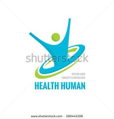 Health human - vector logo concept illustration. Human character creative sign. Sport fitness logo icon. Vector logo template. Design element.