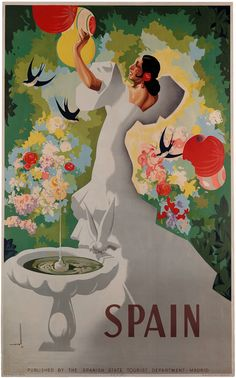 This vintage Spanish travel poster shows a señorita dancing in a garden. Published by the Spanish State Tourist Department in Madrid. Painted by artist Asturias