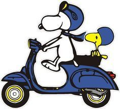 Snoopy & Woodstock on a bike Piaggio Vespa, Vespa Lambretta, Vespa Scooters, Snoopy Et Woodstock, Snoopy Love, Charlie Brown And Snoopy, Vespa 125, Illustration Vespa, Lml Star