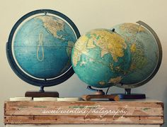 """Old Globes"" fine art photograph by Jessica Nichols, SweetEventide. These #vintage #globes were photographed at the incredible Maven Collective in SE Portland.  Love this."