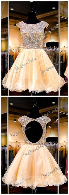 Homecoming dress,Cap Sleeve Sparkly Beaded Bodice Champagne Tulle Skirt Style,short prom dress from http://diydressonline.storenvy.com/collections/964335-homecoming-dresses