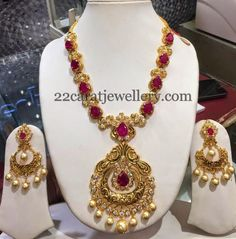 Jewellery Designs: Antique Style Ruby Long Chain