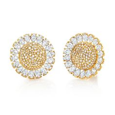 Cognac & White Diamond Sunflower Earrings #jewelry #finejewelry #diamonds…