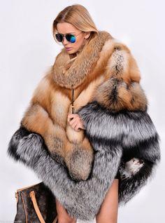 fox furs - long gold royal saga fox fur poncho