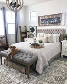 Farmhouse style bedroom | Bedroom decorating ideas  #modernfarmhouse #farmhousestyle #farmhousebedroom #homedecor Bedroom Lighting, Master Bedroom Bathroom, Cozy Bedroom, Master Bedroom Design, Dream Bedroom, Master Suite, Guest Bedrooms, Master Bedrooms, Country Bedrooms