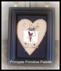 Primitive Spring Bunny Heart Canvas Flower Picture by Primgal