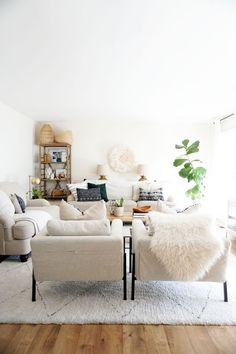 A modern and neutral living room for spring! A Simple Spring Home Tour