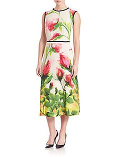 Escada - Floral-Print A-Line Dress