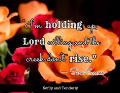 I'm holding up, Lord willing and the creek don't rise.~Sara Evans