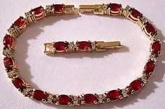 Red Faux Ruby Crystal Bracelet Gold Tone Vintage Large Oval Faceted Clear Stones Adjustable Length