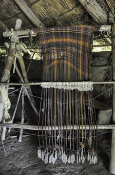 "Castell Henllys. ""The Iron Age Celts' clothes might have looked like the tartan you see in Scotland and Ireland today, with checks and stripes. The Celts used berries and plants to dye the wool different colours.""-BBC"