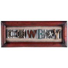 Cowboy Word Wood Plaque