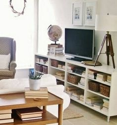 Was thinking of maybe getting a new TV stand w/shelves for coffee table books, etc. Not necessarily this setup, but the idea.