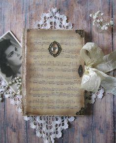 Old sheet music diary, journal, notebook, tagebuch, diario, shabby chic diary…
