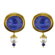 Elizabeth Locke Intaglio and Pearl Drop Earring Thailand
