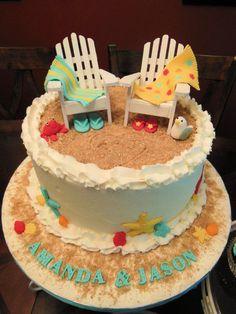 Beach Theme Wedding Shower Cake & Cupcakes