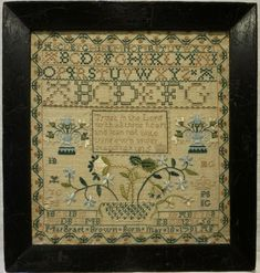 Early century linen and silk work sampler by Margraet (Margaret? Brown - This sampler is just stunning with fine quality stitch work throughout. Embroidery Sampler, Cross Stitch Embroidery, Blackbird Designs, Linens And Lace, Cross Stitching, Doilies, Vintage Sewing, Needlepoint, 19th Century