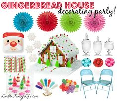Gingerbread house decorating party for kids. Inspiration board.