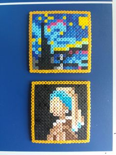 Stairy Night, Girl with a pearl earring - hama bead famous paintings pattern Easy Perler Bead Patterns, Melty Bead Patterns, Diy Perler Beads, Perler Bead Art, Beading Patterns, Beaded Cross Stitch, Cross Stitch Art, Hamma Beads Ideas, Arte 8 Bits