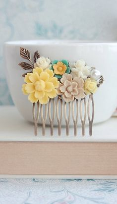 Bright Yellow Chrysanthemum, Green Daisy, Brown Sakura, Ivory Bouquet, Pearl, Yellow Flower Collage Comb. Bridesmaids Gift Ideas by Marolsha -  https://www.etsy.com/listing/150613141/yellow-flower-comb-chrysanthemum-green?ref=shop_home_active_16&ga_search_query=yellow%2Bcomb