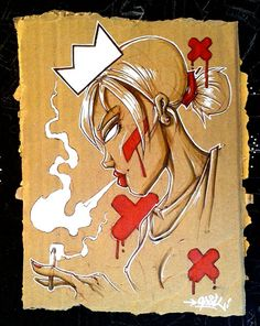 """""""The smoke"""" Opoil 2015  Mixed medias on cardboard - 18,5 x 22cm For sale ! Contact me in mp or available on ebay : http://www.ebay.fr/itm/291551995429"""