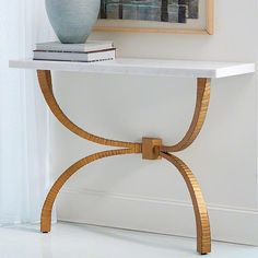 new to #studioahome: Teton Console-Gold w/White Marble Top #console #atlmkt…