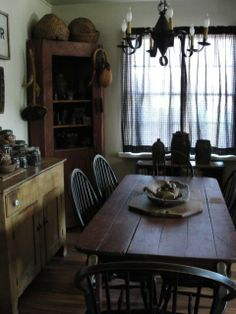 Very country farmhouse - harvest table, corner cupboard, hoop-back chairs, pine side board