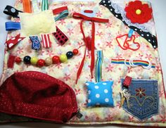Sunshine with Reds Fidget, Sensory, Activity Quilt Blanket by TotallySewn on Etsy