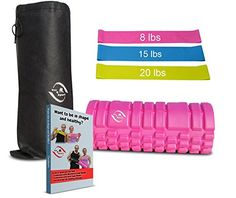 Foam Roller Workout Bands Carry Bag Ebook bundle  Massage Physical Therapy  Crossfit Pilates Yoga Exercise Equipment  Arthritis Pain Relief  Strenght  Stretching  Trigger Point Therapy Pink * More info could be found at the image url.